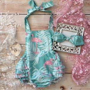 Other - Boutique Baby Girl Flamingo Romper & Headband